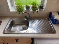 Aluminium sink, 1 bowl, including tap
