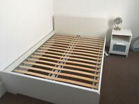 Ikea Double Bed and Matching Bedside Cabinet