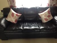 Black leather sofa in good condition from a pet free & smoke free home £250