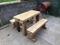 Table and two benches