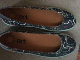 Blue slip on shoes, size 7
