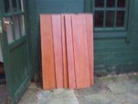 Six wooden shelves - 23 cm x 116 cm x 1.5 cm deep
