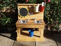 Quality Handmade Mud Kitchen with Removable Sunflower Blackboard.
