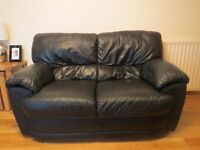 second hand black leather 3 + 2 suite for sale