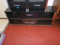 Brand New 1 Drawer TV Bench. Black and Chrome Effect