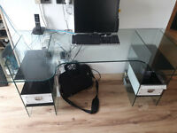 Solid Glass Workdesk-Computer desk- various uses.