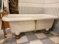 Roll top bath - modern acrylic with brasswear