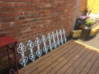 Set of 9 original wrought iron balusters / balustrade pillars 22.5""