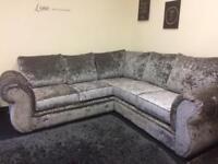 Crushed Velvet Corner Sofa.