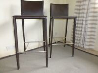 Two Brown Leather Bar Stools - Actona Denmark