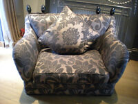 Designer cuddle chair bed love seat with acorns parker knoll sides fold down damask