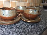 Vintage hand made hand painted mugs with dishes