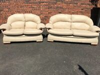 two pieces leather suite, three seater, two seater sofa, couch, settee (free local delivery)