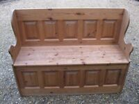 MONKS BENCH / SETTLE. PINE PEW WITH STORAGE. Delivery possible. ALSO CHURCH PEW & CHAPEL CHAIRS.