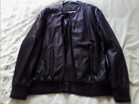 mans fake leather bomber jacket