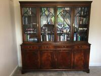 Large flame wood mahogany bookcase
