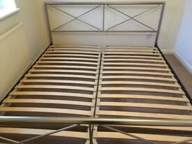 Metal Frame Super King Size Bed and Mattress