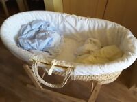Moses basket with mattress, stand and bedding