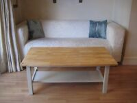 Lovely Solid Birch Coffee Table with Shelf - Frame, legs and shelf painted in Farrow & Ball eggshell