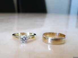 18ct Yellow Gold .50ct Diamond Engagement Wedding Ring Set Size K