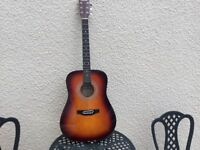 Quality acoustic guitar by Falcon FG100SB with single broken string