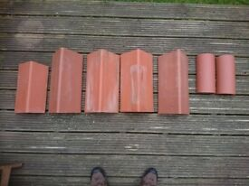 Red roof clay ridge tiles - 2 x half round; 4 x plain angle; brand new RRP £30+