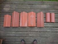 Red roof clay ridge tiles - 2 x half round; 4 x plain angle; brand new RRP £30+