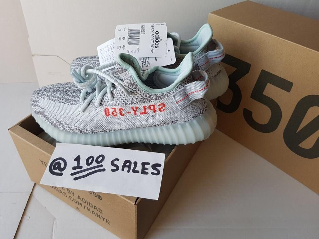 18d09561 ADIDAS x Kanye West Yeezy Boost 350 V2 BLUE TINT Grey/Blue UK5.5 US6 B37571  ADIDAS RECEIPT 100sales