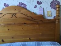 One double solid pine head board