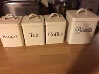 Vintage Cream Enamel Tea sugar coffee and Biscuit containers