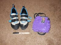 Pair of EB Bluebird Climbing Shoes (size 9.5). Ibbz Purple Chalk Bag and Brush