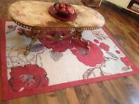 Beautiful red and cream flower design thick rug for sale