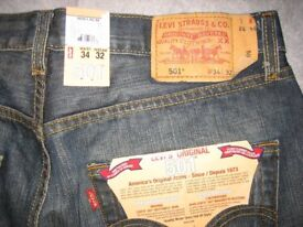 Mens Levis Strauss Jeans 501 - blue 34/32