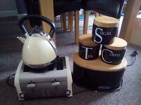 Toaster kettle bread bin and tea coffee sugar