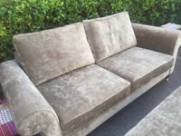 4 Seater Crushed Velvet Sofa & Matching Large Rectangular Footstool