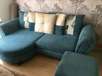 4 seater sofa with storage foot stool