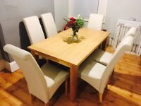 Extendable Oak Table with 6 Leather Chairs