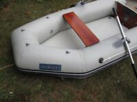 Seago 240 inflatable dinghy. Near new with inflated floor, transport wheels and fully kitted.