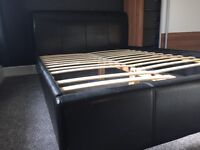 Faux leather double bed frame (no mattress)