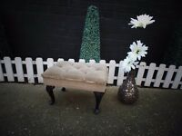 ABSOLUTELY STUNNING CREAM VELVET FABRIC & WOOD FOOT STOOL IN EXCELLENT CONDITION 50/34/32 cm £15