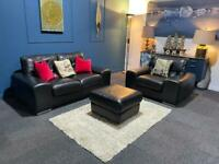 Black leather suite 2 seater sofa, armchair and pouffe