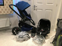 Quinny Moodd Pushchair in Blue - Maxi Cosi Pebble Car Seat, Adapters&Raincovers