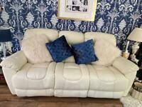 Cream leather recliner, 3 piece, 6 seater and pouffe
