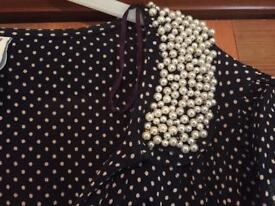 Size 10 polkadot navy dress