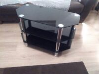 TV Corner Table in black glass and chrome