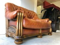 CAN DELIVER- BROWN LEATHER & WOOD 2 SEATER SOFA IN EXCELLENT CONDITION