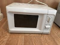 Compact White Microwave Oven