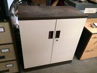 Brown & Cream Lockable Metal Stationery Cabinet Garage Workshop Storage 102cm H