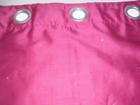 Pink Eyelet Curtains with Diamante
