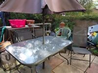 Garden Table and 6 chairs plus umbrella and stand
